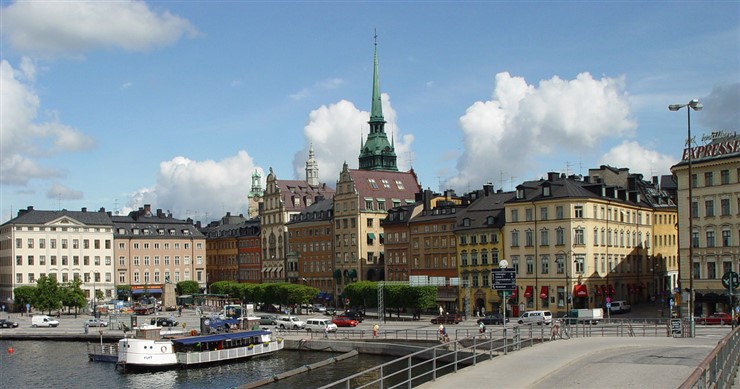 View of Gamla stan (old town) in Stockholm, Sweden with the tower of Tyska kyrkan (the German church). Photographer Jürgen Howaldt