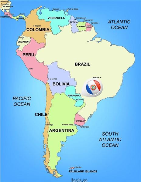 Paraguay Map. Image Source http://paraguaymap.facts.co/paraguaymapof/ParaguaySouthAmericaMap.png